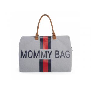 Childhome Prebaľovacia taška Mommy Bag Grey Stripes Red/Blue