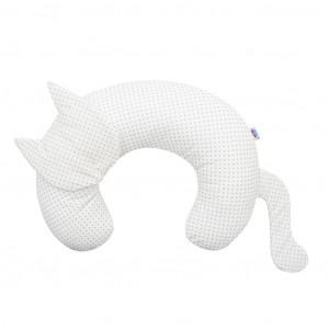 Dojčiaci vankúš New Baby Mačka Velvet biely s bodkami