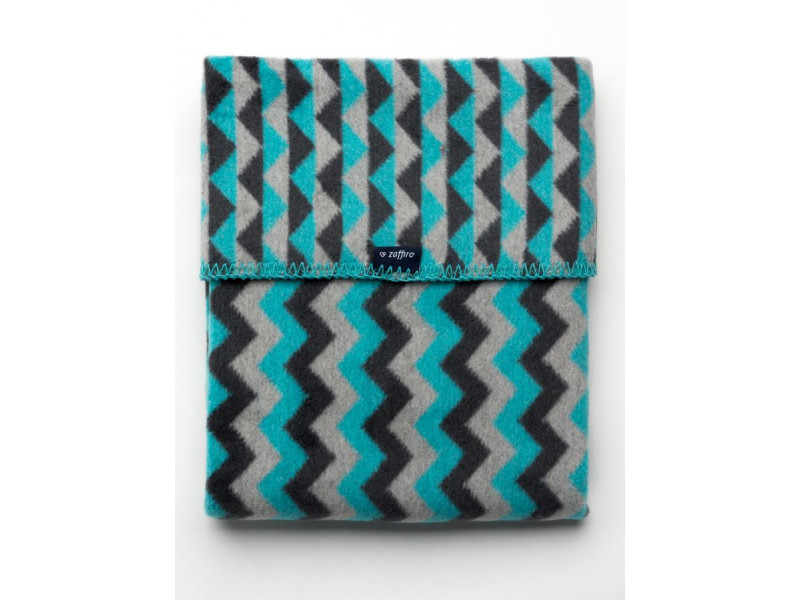 Detská bavlnená deka so vzorom Cik-Cak Womar 75x100 grafitovo-sivo-tyrkysová