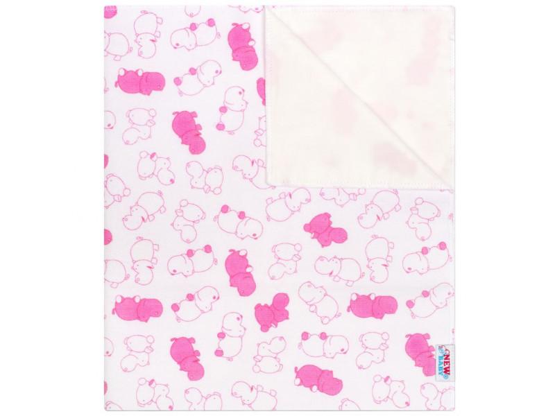 Nepremokavá flanelová podložka New Baby hrošík ružový