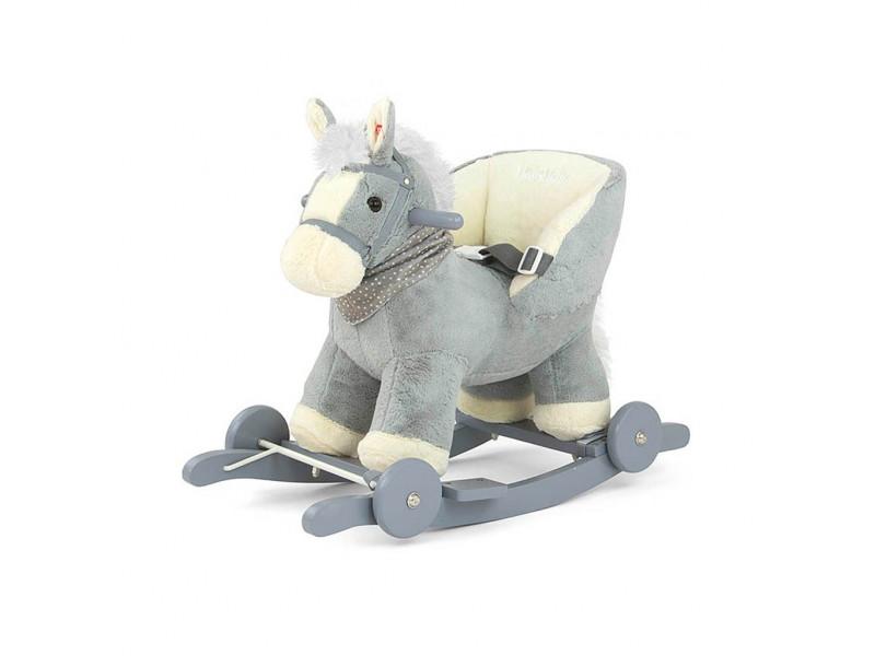 Hojdací koník s melódiou a kolieskami Milly Mally Polly sivý