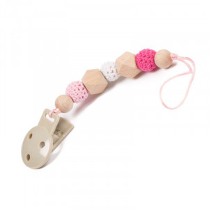 BO Jungle Retiazka na cumlík / hrýzatko B-PACIFIER WOOD Pink