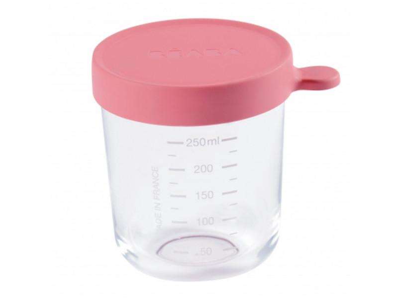 Beaba Kelímok na jedlo sklenený 250ml tmavo ružový