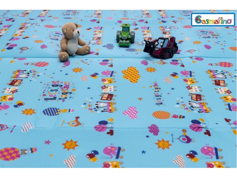 CASMATINO Detská ľahká skladacia podložka HAPPY TRAIN 210x200cm - tenká