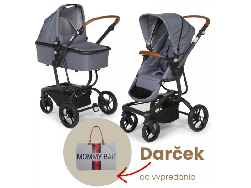 AKCIA Childhome Kočík Urbanista 2v1 Canvas Grey + Mommy Bag ZDARMA