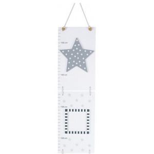 Jabadabado Drevený rastový meter hviezda sivá
