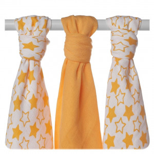 XKKO Plienka BAMBUS 3ks 70x70cm - Little Stars Orange MIX