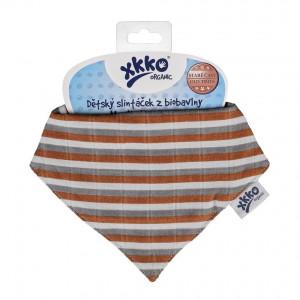 XKKO Bio bavlna Organic slintáčik Staré časy - Brown Stripes