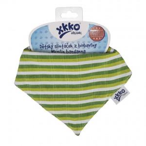 XKKO Bio bavlna Organic slintáčik Staré časy - Green Stripes