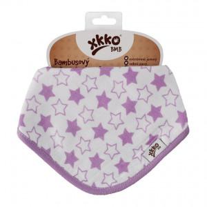 XKKO Bambusový slintáčik Little Stars Lilac