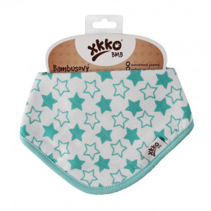 XKKO Bambusový slintáčik Little Stars Turquoise