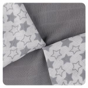 XKKO Plienky BAMBUS 9ks 30x30 - Little Stars Silver MIX