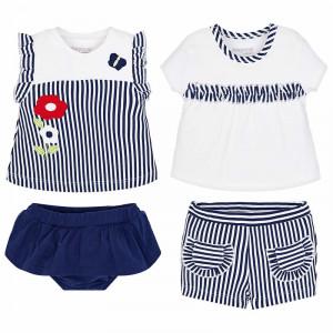 Tričko s kraťasmi MAYORAL modré - set 4 ks, Girl (2F)