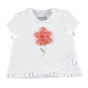 Tričko MAYORAL biele Kvietok, Girl (2R)