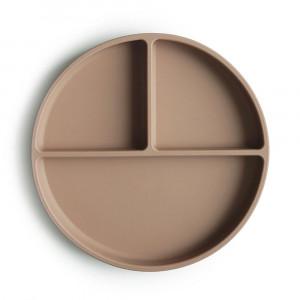 Mushie silikónový tanier s prísavkou | Natural