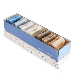 Doudou et Compagnie Set ponožiek v krabičke 0-6m modré