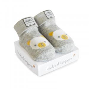DouDou et Compagnie ponožky pre bábätko sivé mix