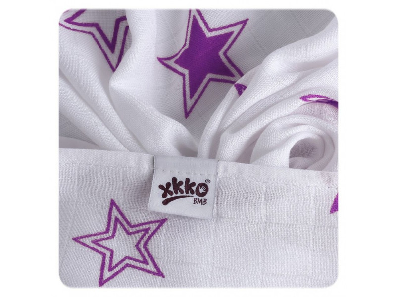 XKKO Osuška / plienka BAMBUS 90x100cm STARS LILAC DOPREDAJ